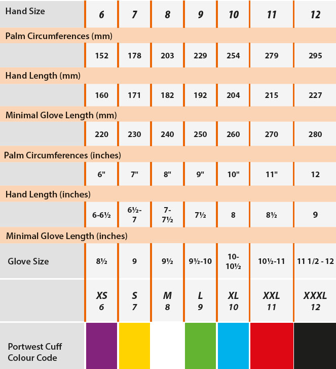glove and hand size chart