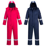 Flame resistant anti-static winter coverall navy and red