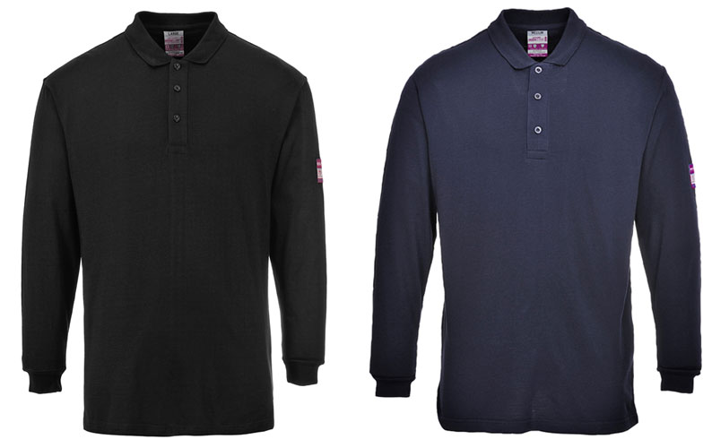 flame resistant anti-static long sleeve polo shirt navy and black