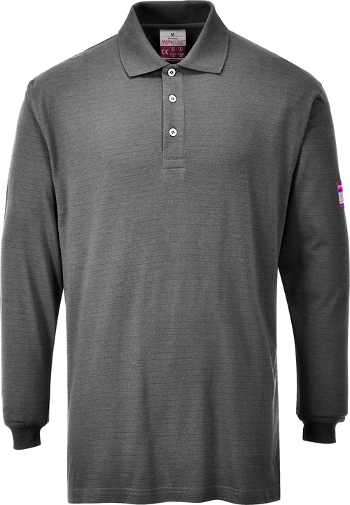 Flame resistant anti-static long sleeve polo shirt grey