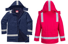 Flame resistant anti-static winter jacket navy and red