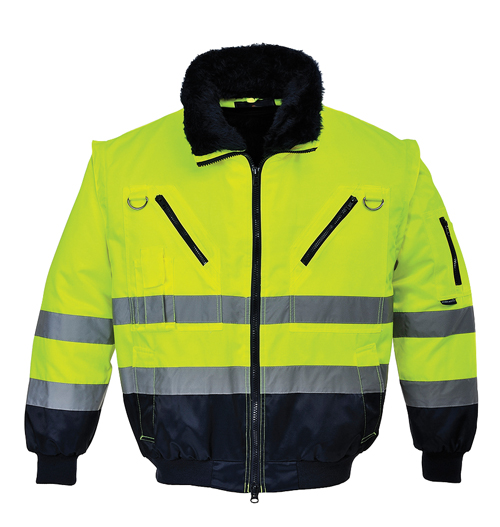 Hi Vis Pilot Jacket Yellow Navy
