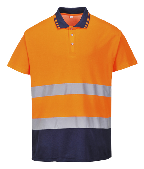 two Tone Cotton Comfort Polo Orange