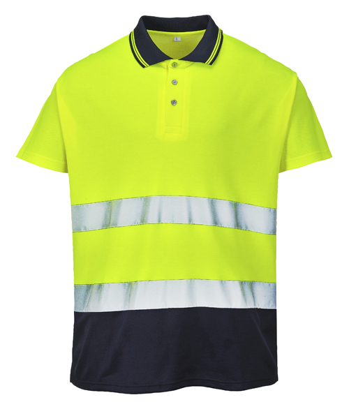 Two Tone Cotton Comfort Polo Yellow