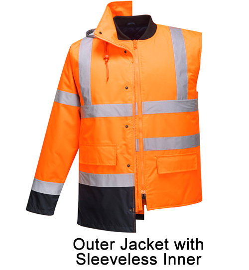 Hi Vis Contrast Jacket with Sleeveless Inner
