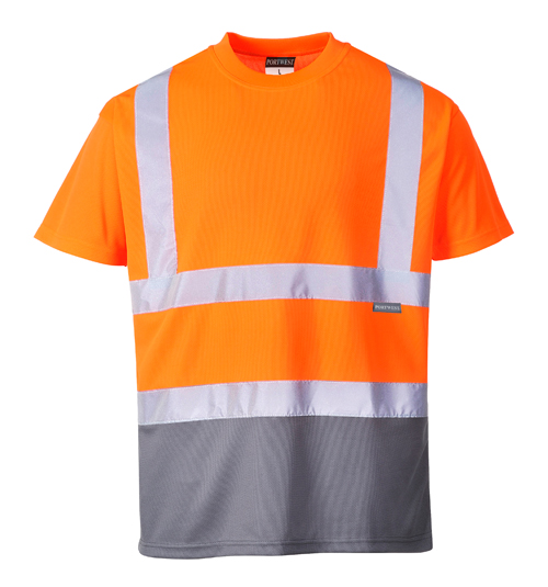 Hi Vis Two Tone T-Shirt Orange Grey