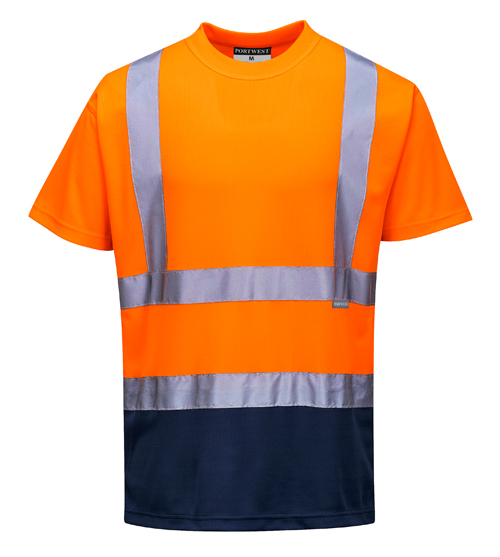 Hi Vis Two Tone T-Shirt Orange Navy