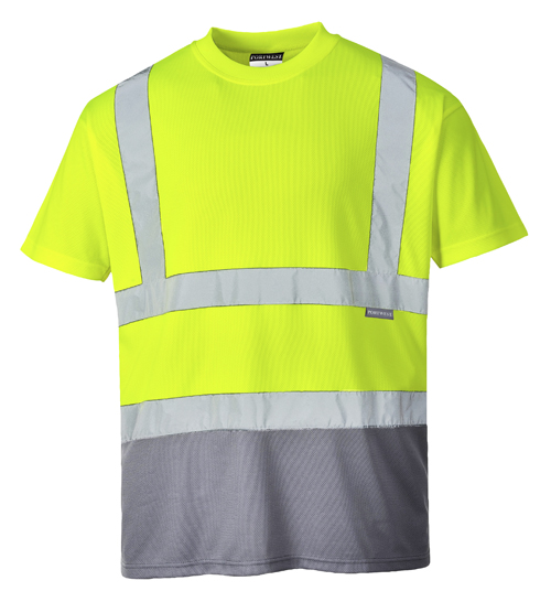 Hi Vis Two Tone T-Shirt Yellow Grey