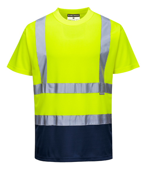 Hi Vis Two Tone T-Shirt Yellow Navy